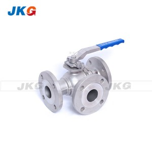 Full bí SS 3 Way Flanged Ball àtọwọdá T / L Port Lilefoofo àtọwọdá