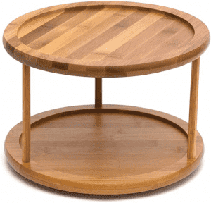 Bamboo 2-Tier 10-Inch Turntable Tray Sushi Plate;Multi-function Bamboo Kitchen Accessory 2 Tier Lazy Susan Turntable