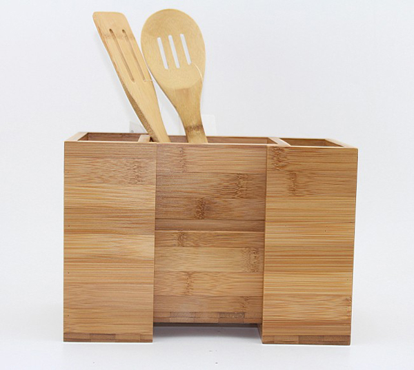 Bamboo Expandable Cooking Utensil Kitchen Tool Holder | Natural Spatula Spoon Caddy | Counter Stove Top Organizer