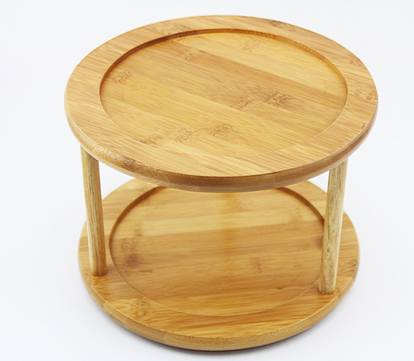 Wooden Wood Bamboo 2 Tier Lazy Susan Turntable