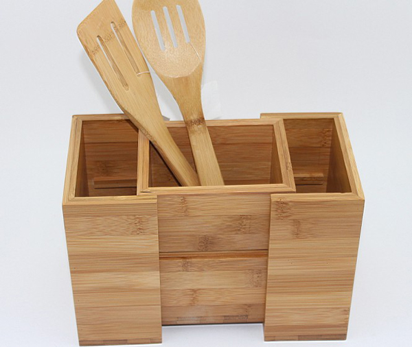 Bamboo Expandable Utensil Holder Organizer|Constructed from 100% Real Bamboo Wood Durable Dividers for Flatware and Kitchen