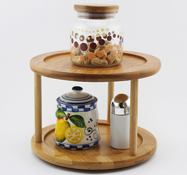 2-Tier Premium Bamboo Lazy Susan  Turntable | Lazy Susan Spice Rack | Kitchen Cabinet Organizer