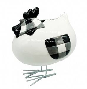 Ceramic white and Black Lattice Chicken with Metal Standing for Home Decor