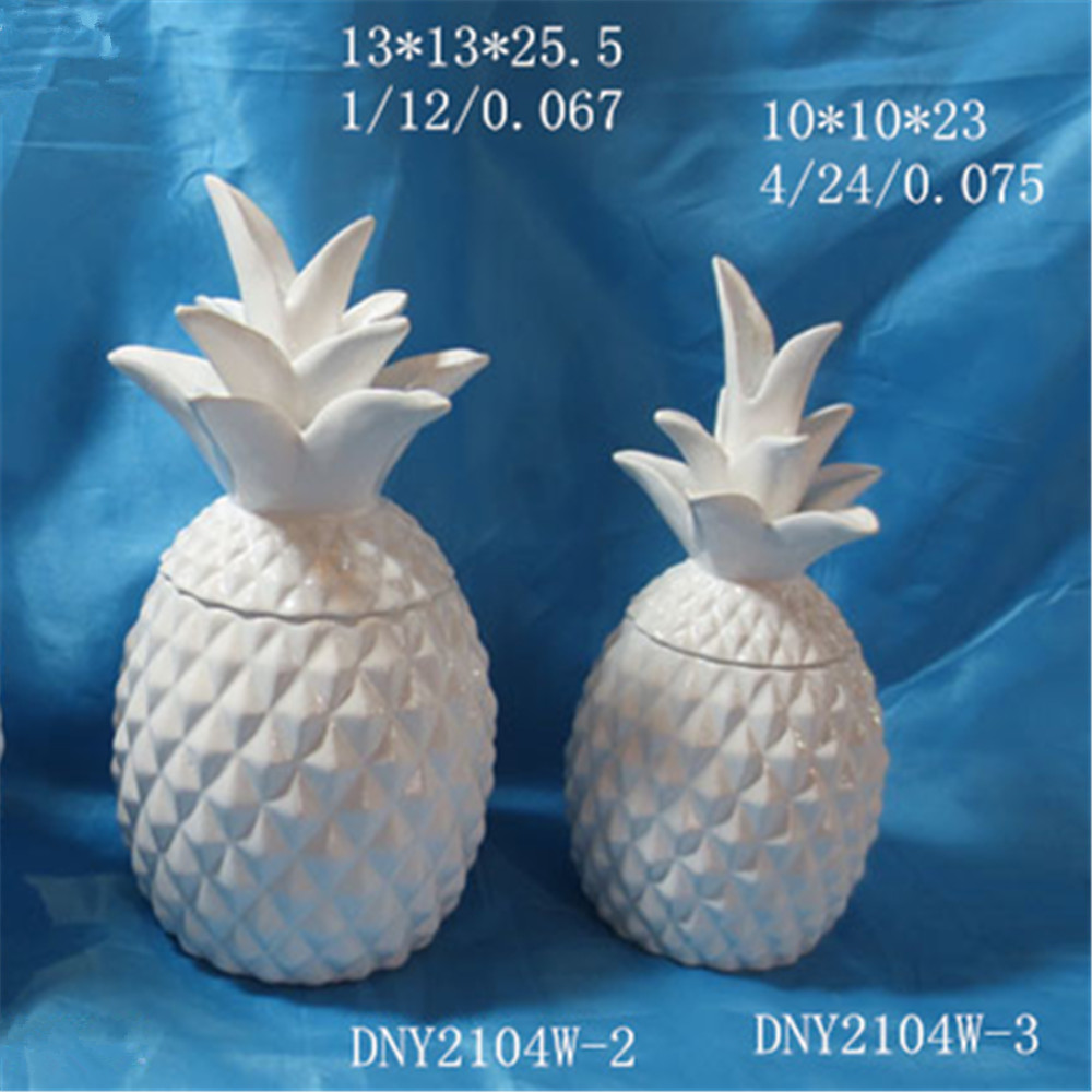 Three color pineapple cookie jar ceramic novelty glazed food storage jar