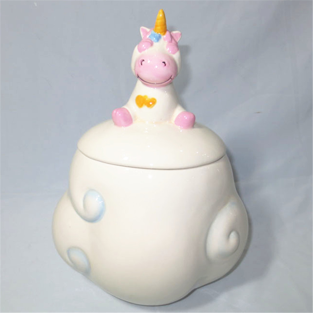 Cute balang cookie unicorn, seramik balang gula-gula cookie dengan penutup patung unicorn