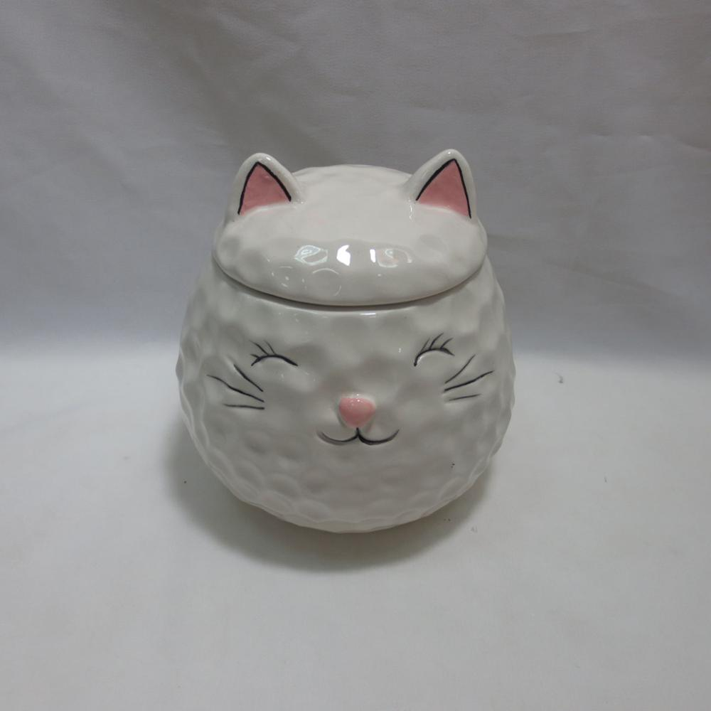 Ceramic Lucky Cat Sugar Salt Pepper Storage Jar with Lid And Spoon