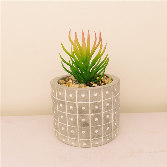 Engraved  Cement Succulent /Cactus  Plant pot Flower pot wholesale