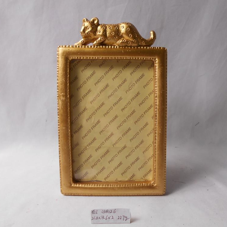 New model vintage resin gold home decor picture photo frame with leopard decoration