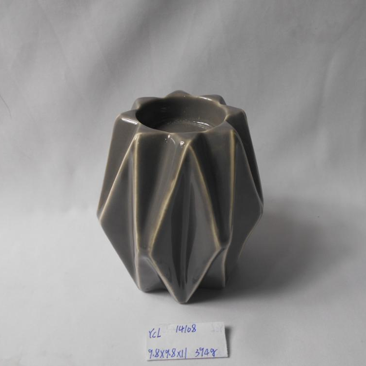 Newly gray color ceramic candle holder scraping the glaze effect candle stand