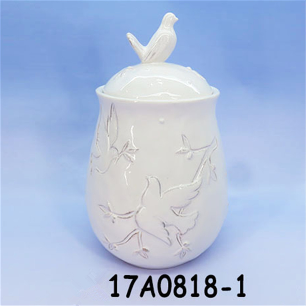 Ceramic bird Canisters ~ Kitchen Jar Set with Bird Figure ~ Food Storage Containers