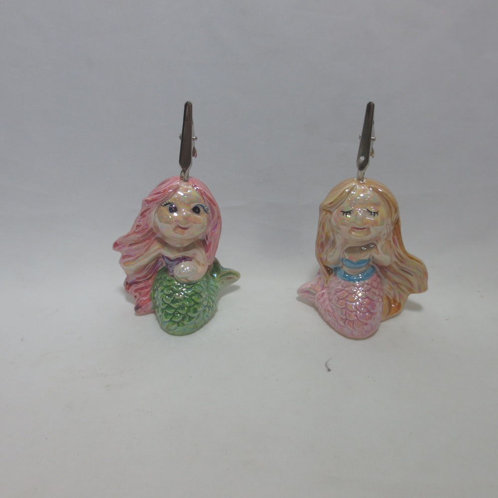 Custom Made Ceramic Mermaid Shape Card Holder, Card Clamp, Card clip