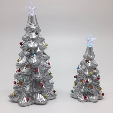 Wholesale customized silver Christmas Tree Christmas gift with LED light