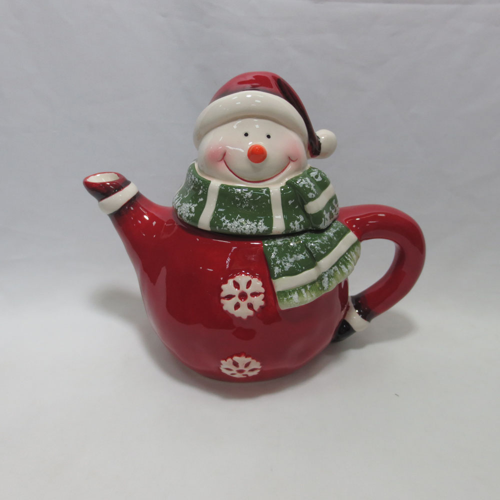 Customized red color snowman handmade painting teapot porcelain teapot