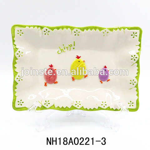 Easter chicks ceramic plate snack dishes
