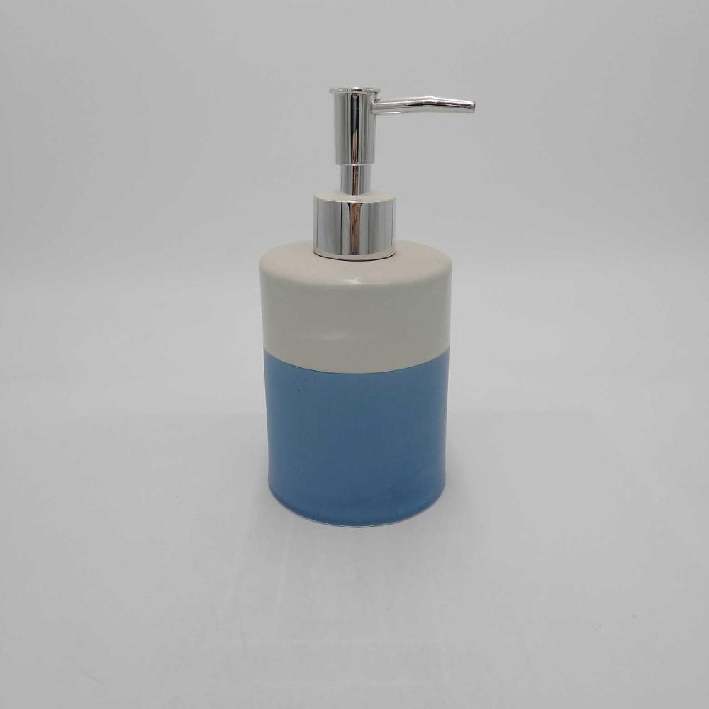 Blue and White Striped Ceramic Soap Pump Dispenser, 280ml