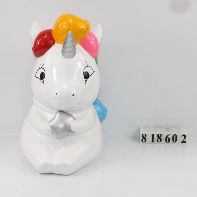 8 oz Keramik cookie unicorn Candy jar, tangan dicet lodhong mini karo tutup