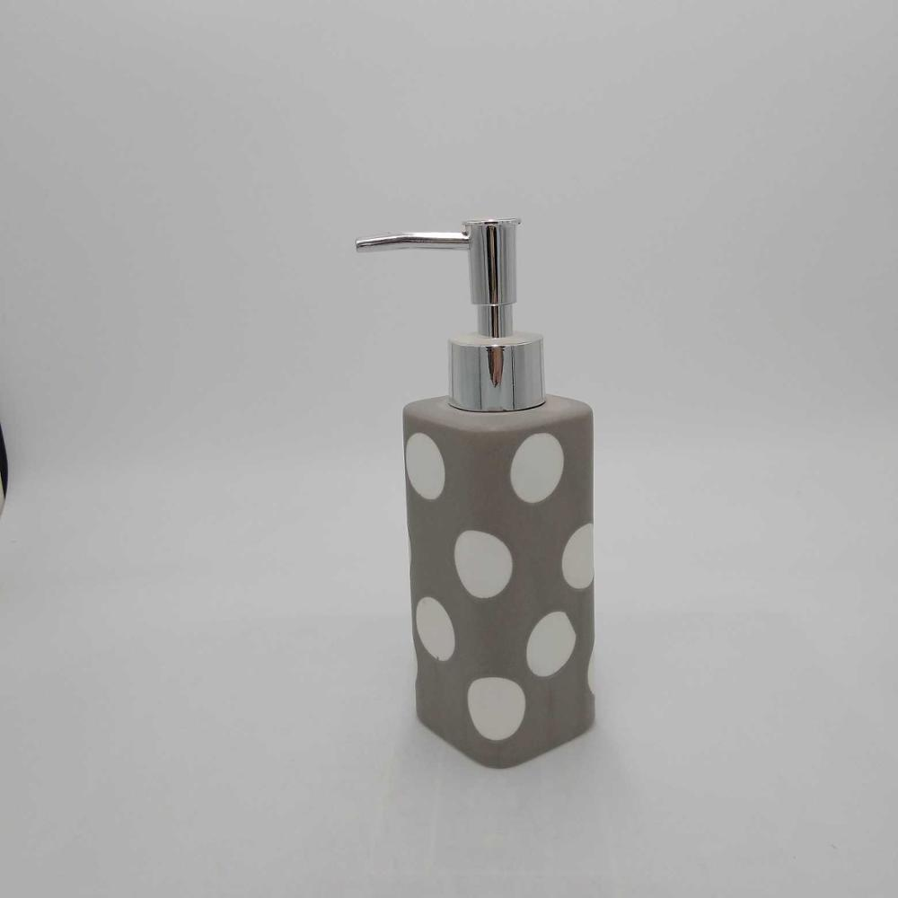 Soap Blue and White Ceramic Liquid Lotion Dispenser Holder with Easy Aluminum Pump Hand Painted Floral