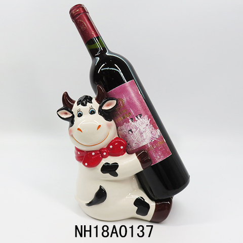 Funny Milk Cow Sculpture Wine Bottle Holder Ornamental Polyresin Ox wine holder Featured Image