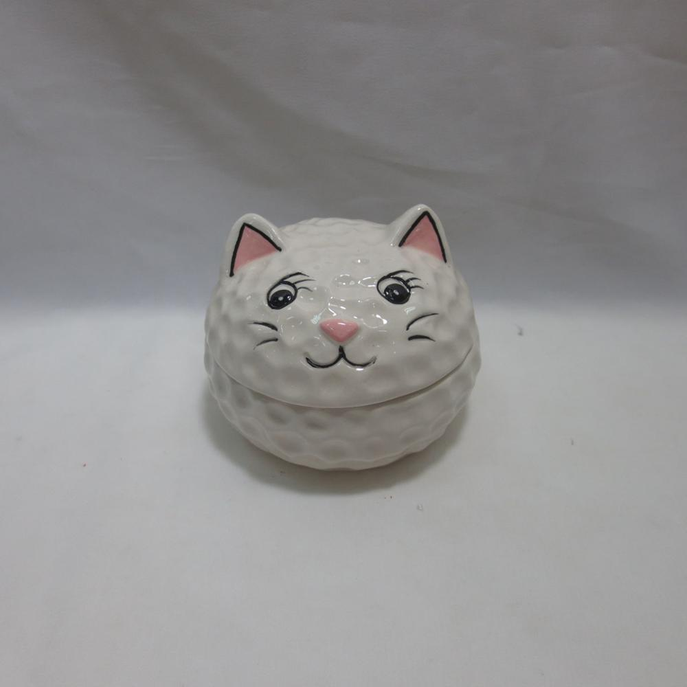 Lucky Cat Figurine Collectible Animal Hinged Trinket Box Bejeweled Hand-Painted Ring Holder
