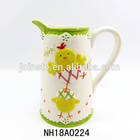 Large capacity ceramic kettle tall with easter chicks decorated