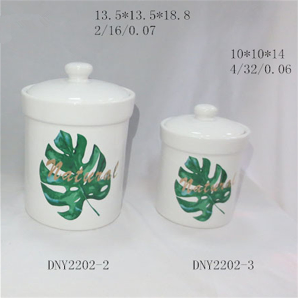 ceramic flamingo canister set , hand painted food canister set with lid