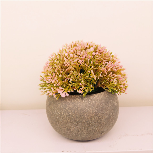 Artificial Plastic Mini Plants Unique  Green Grass Flower in Gray Pot for Home Decor Set of 3