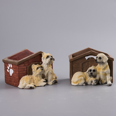 Custom new design cheap resin flower planter pot with dog garden item