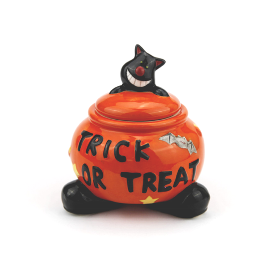 spooky Halloween candy jar, trick or treat game