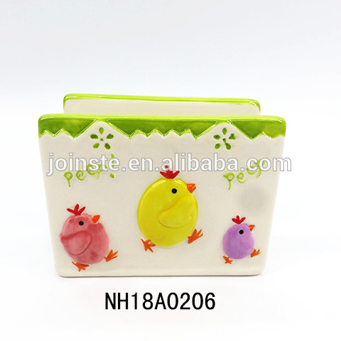 Easter chicken ceramic Napkin holder