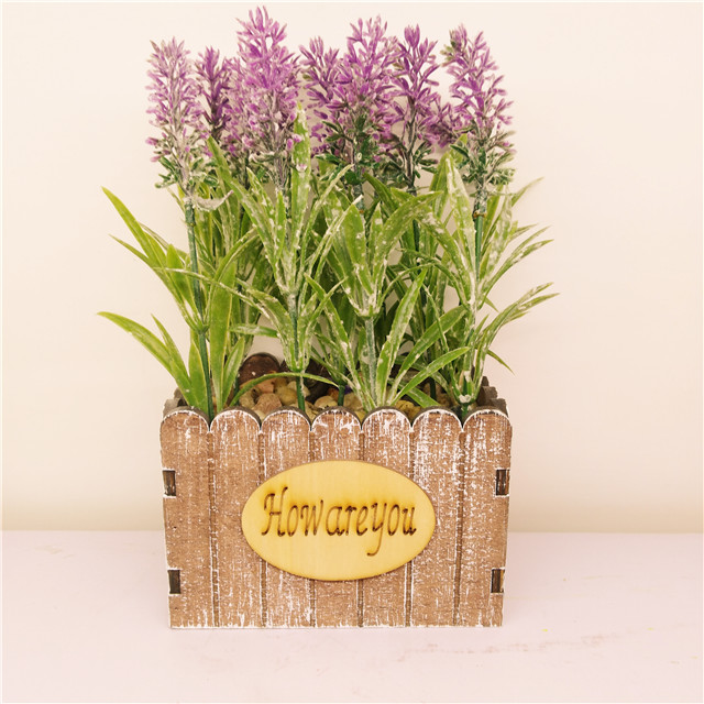 Artificial Flower Potted Lavender Plant for Home Decor