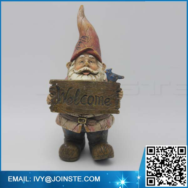 Welcome garden decoration gnome figurines ,small size resin gnome figurine manufacture