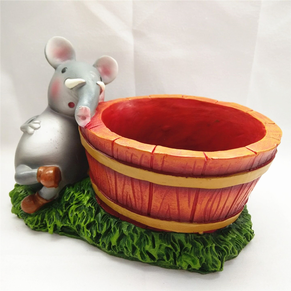 Resin animal flower pot garden succulent pot with elephant figurine