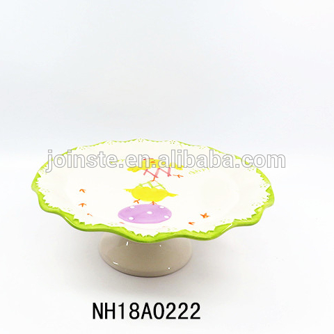 Ceramic Easter chicks Cake Stand Plate Display Platter
