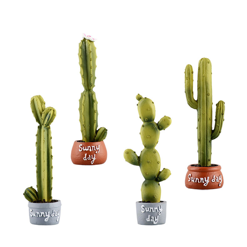 hotsale polyresin vase with cactus for home decoration