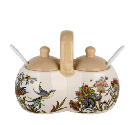 CERAMIC JARS  2 SECTIONAL FOR SPICES WITH BRIGHT ORNAMENTAL