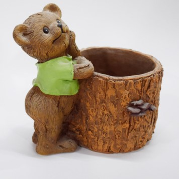 Custom cheap resin flower planter pot with bear resin garden decoration