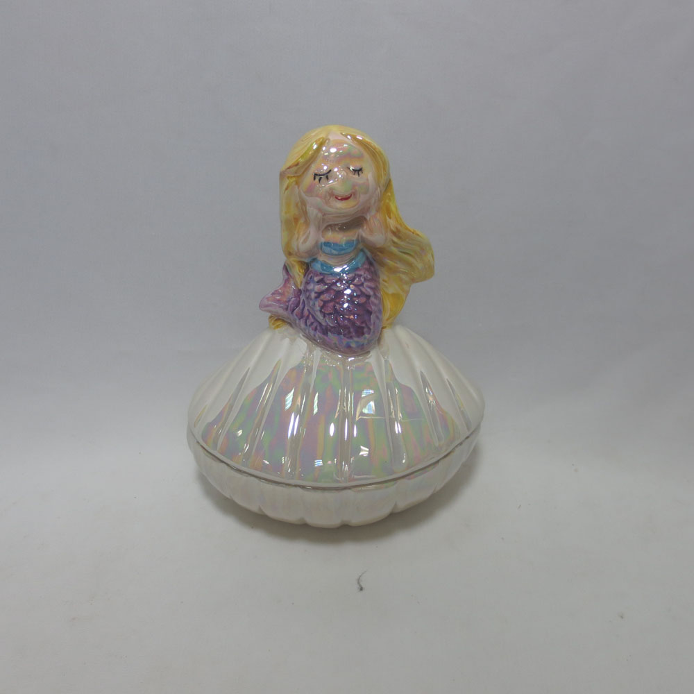 Mermaid Resting A top Small Clam Trinket Jewelry Box. Removable Lid. White/Iridescent Mermaid Jewelry Box 3.625 x 3.25 x 3.625 H
