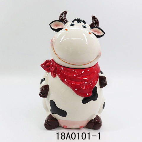 New ceramic cow shape cookie jar food storage jar