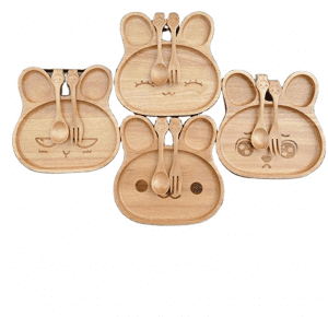 Bamboo Bunny Plate with Spoon and Fork Set; Four Style Bamboo Baby Plate Set Rabbit Shape with Four Face