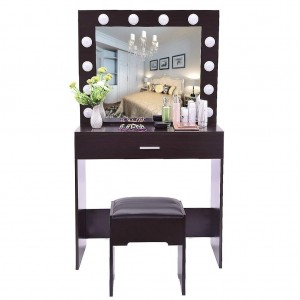 Hot Sales Wooden Dressing Table With Mirror And Stool Vanity Set