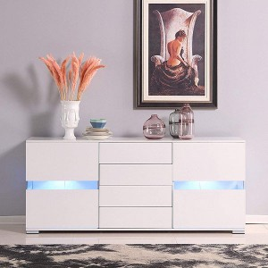LED High Gloss White Sideboard Buffet Cabinet Cupboard with Drawer & Door