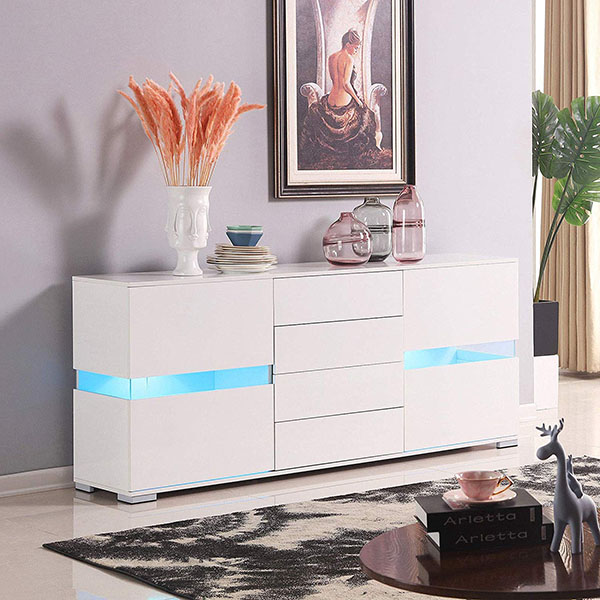 LED High Gloss White Sideboard Buffet Cabinet Cupboard with Drawer & Door Featured Image