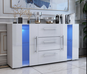Well-designed Side Board Cabinet - Hot Selling 3 Drawers 2 Door White Led Storage Sideboard Cabinet  – Joysource