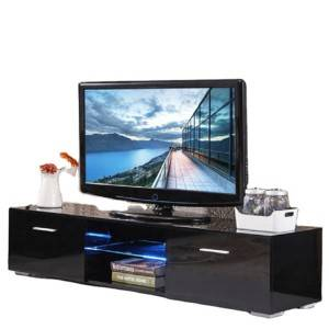 Modern Custom Design High Gloss Melamine Particle Board 2 Doors TV Stand for TVs up to 60″