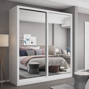 Wholesale Price China Bedroom Furniture - large storage modern design 2 doors wooden wardrobe for bedroom with mirror  – Joysource