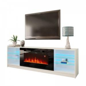 modern wood living room furniture wicker classic led light tv stand table with fireplace