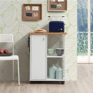 hot sale new design modern 2-Tier wooden kitchen cabinet organizer storage with wheel