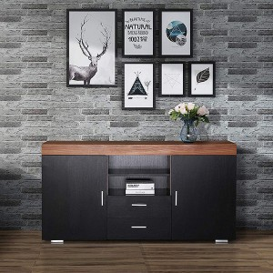 Wholesale Storage Cabinet - Cabinet Cupboard Sideboard Buffet High Gloss Front 2 Drawer Door Multicolor LED – Joysource
