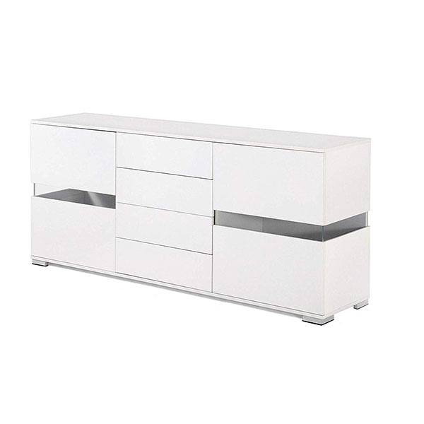 2017 Good Quality Melamine Kitchen Cabinet - LED High Gloss White Sideboard Buffet Cabinet Cupboard with Drawer & Door – Joysource