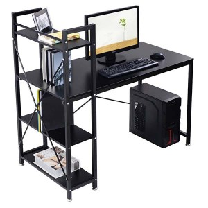 Hot sale Factory Office 2 Drawer Cabinet - New Black Modern Computer Desk with 4-Tier Shelves PC Workstation – Joysource